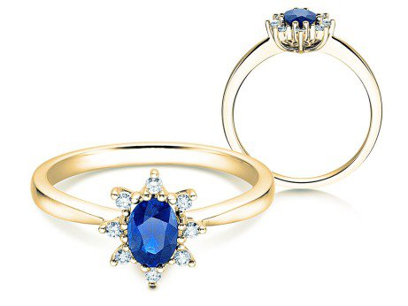 Saphirring Blue Star in 14K Gelbgold mit Diamanten 0,06ct