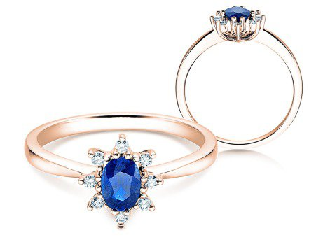 Saphirring Blue Star<br />14K Roségold<br />Diamanten 0,06ct