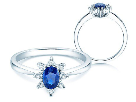 Saphirring Blue Star<br />14K Weißgold<br />Diamanten 0,06ct