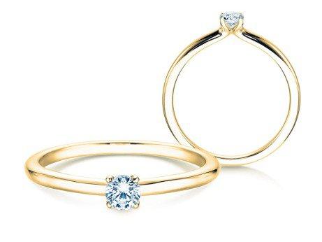 Verlobungsring Classic 4 in 14K Gelbgold mit Diamant 0,15ct
