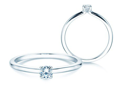 Verlobungsring Classic 4 in 14K Weißgold mit Diamant 0,15ct