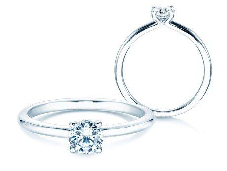 Verlobungsring Classic 4 in Platin mit Diamant 0,40ct
