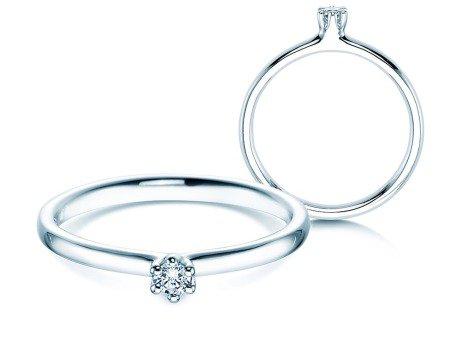 Verlobungsring Classic in 14K Weißgold mit Diamant 0,05ct