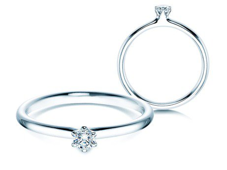 Verlobungsring Classic in 14K Weißgold mit Diamant 0,10ct