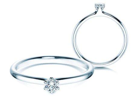 Verlobungsring Classic<br />14K Weißgold<br />Diamant 0,10ct