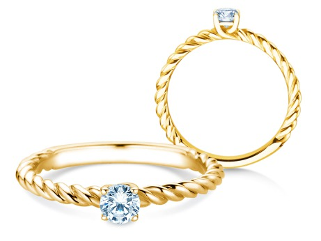 Verlobungsring Classic Loop<br />14k Gelbgold<br />Diamant 0,20ct