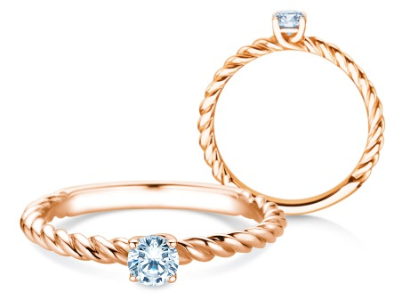 Verlobungsring Classic Loop<br />14k Roségold<br />Diamant 0,25ct