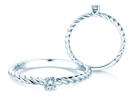 Verlobungsring Classic Loop<br />18k Weißgold<br />Diamant 0,10ct