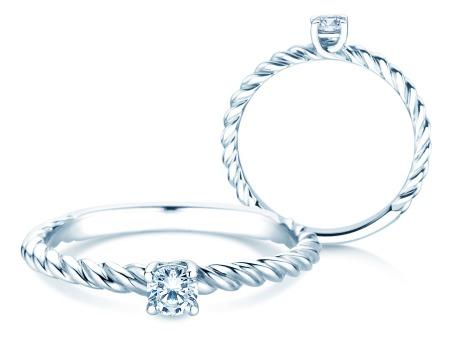 Verlobungsring Classic Loop<br />18k Weißgold<br />Diamant 0,15ct