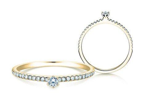 Verlobungsring Classic Pavé<br />14K Gelbgold<br />Diamanten 0,20ct