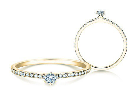 Verlobungsring Classic Pavé<br />14K Gelbgold<br />Diamanten 0,30ct