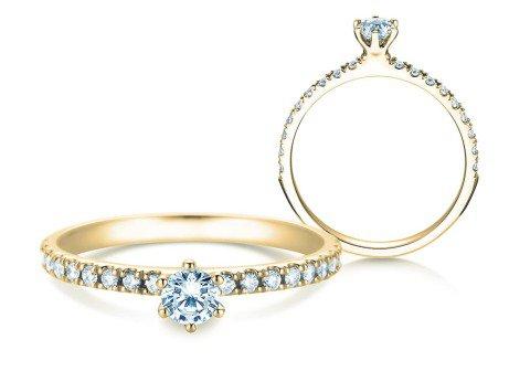 Verlobungsring Classic Pavé<br />14K Gelbgold<br />Diamanten 0,40ct