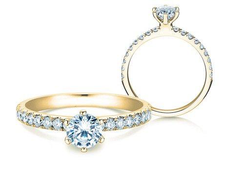 Verlobungsring Classic Pavé<br />14K Gelbgold<br />Diamanten 0,85ct