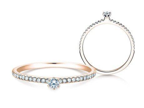 Verlobungsring Classic Pavé<br />14K Roségold<br />Diamanten 0,20ct