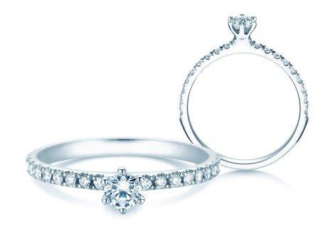Verlobungsring Classic Pavé<br />14K Weißgold<br />Diamanten 0,40ct