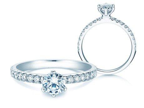 Verlobungsring Classic Pavé<br />18K Weißgold<br />Diamanten 0,85ct