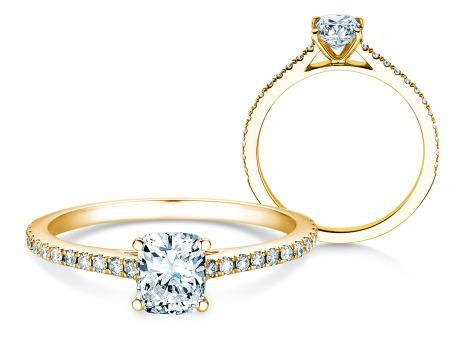 Verlobungsring Cushion Pavé<br />14k Gelbgold<br />Diamanten 0,54ct