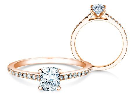 Verlobungsring Cushion Pavé<br />18k Roségold<br />Diamant 0,66ct