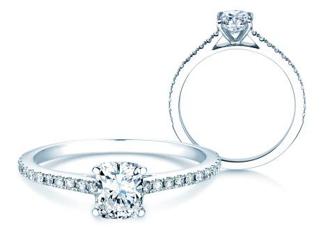 Verlobungsring Cushion Pavé<br />18k Weißgold<br />Diamanten 0,54ct