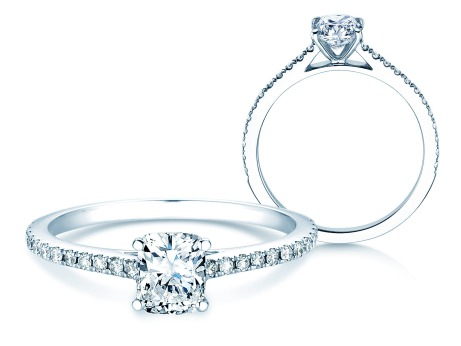 Verlobungsring Cushion Pavé<br />14k Weißgold<br />Diamant 0,66ct