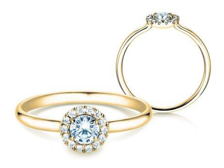 Verlobungsring Flower<br />14K Gelbgold<br />Diamant 0,33ct