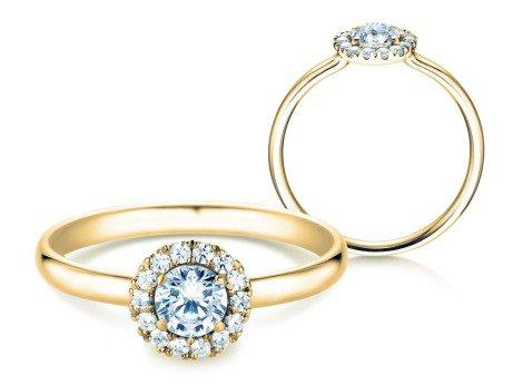 Verlobungsring Flower<br />18K Gelbgold<br />Diamant 0,49ct