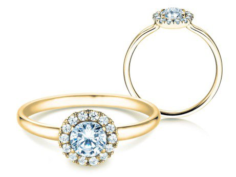 Verlobungsring Flower<br />14K Gelbgold<br />Diamant 0,59ct