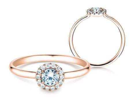 Verlobungsring Flower<br />18K Roségold<br />Diamant 0,33ct