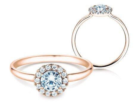 Verlobungsring Flower<br />18K Roségold<br />Diamant 0,59ct