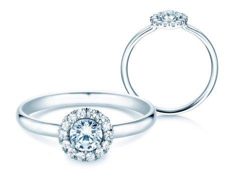 Verlobungsring Flower<br />14K Weißgold<br />Diamant 0,49ct