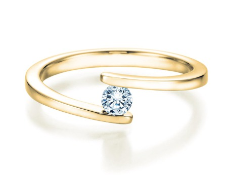 Spannring Split<br />14K Gelbgold<br />Diamant 0,15ct