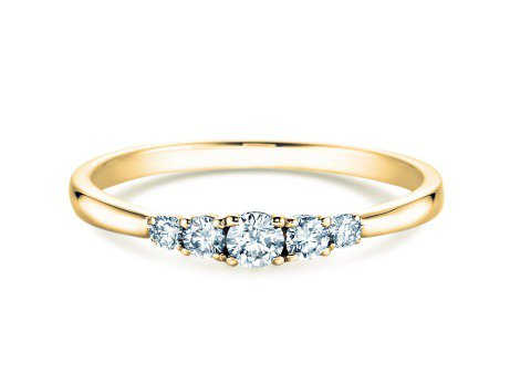 Verlobungsring 5 Diamonds in 18K Gelbgold mit Diamant 0,25ct