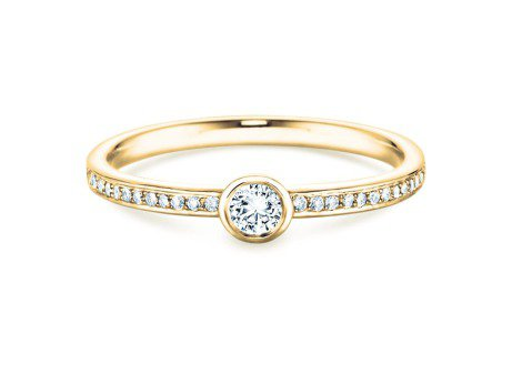 Solitärring Eternal Pavé<br />14K Gelbgold<br />Diamant 0,40ct