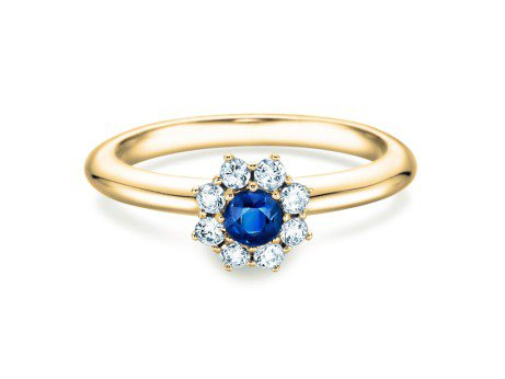 Saphirring Lovely in 18K Gelbgold mit Saphir und Diamant 0,15