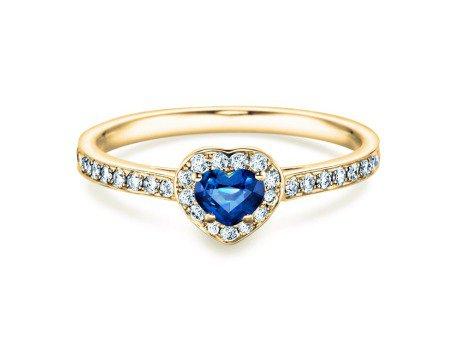 Saphirring Heart<br />14K Gelbgold<br />Saphir und Diamant 0,34
