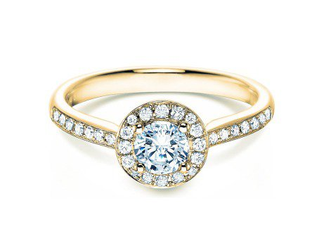 Verlobungsring Halo Classic<br />18K Gelbgold<br />Diamant 0,78ct