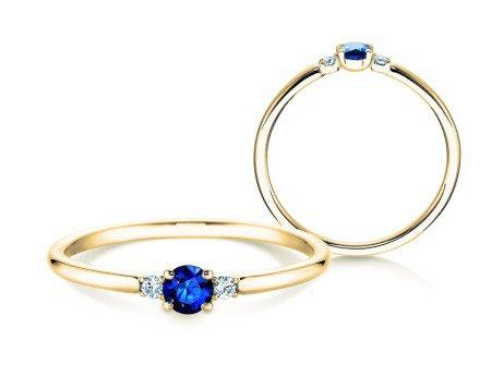 Verlobungsring Glory Petite Saphir<br />18K Gelbgold<br />Diamanten 0,04ct