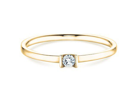 Solitärring Love<br />14K Gelbgold<br />Diamant 0,07ct