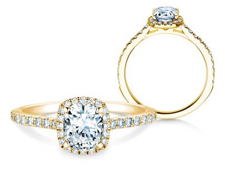 Verlobungsring Halo Cushion Pavé<br />18k Gelbgold<br />Diamanten 0,50ct