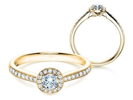 Verlobungsring Halo Petite<br />18K Gelbgold<br />Diamant 0,50ct