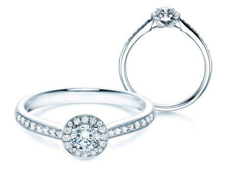 Verlobungsring Halo Petite<br />18K Weißgold<br />Diamant 0,50ct