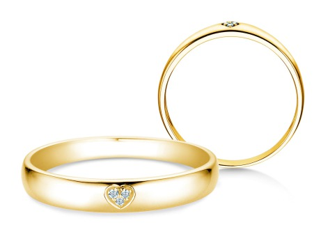 Verlobungsring Heart Petite<br />14k Gelbgold<br />Diamant 0,02ct