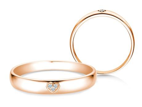 Verlobungsring Heart Petite<br />14k Roségold<br />Diamant 0,02ct