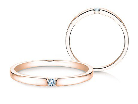 Verlobungsring Infinity Petite in 14K Roségold mit Diamant 0,03ct
