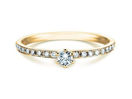 Verlobungsring Classic Pavé in 14K Gelbgold mit Diamanten 0,30ct