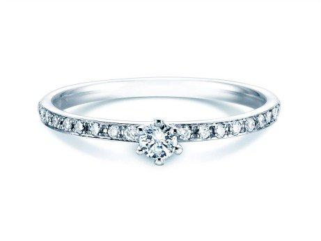 Verlobungsring Classic Pavé in 18K Weißgold mit Diamanten 0,25ct