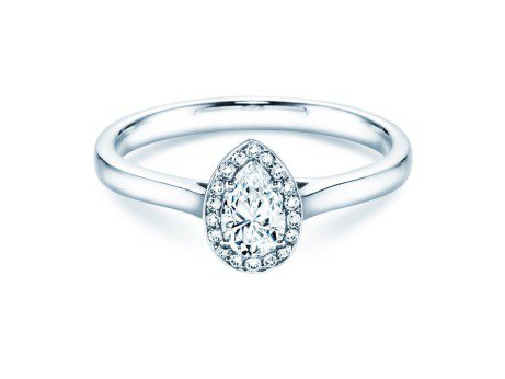 Verlobungsring Pear Shape in Platin mit Diamant 0,50ct