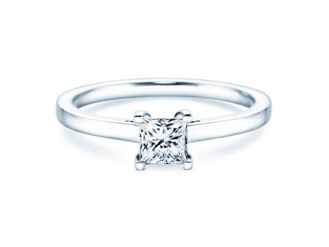 Solitärring Princess in 14K Weißgold mit Diamant 0,50ct