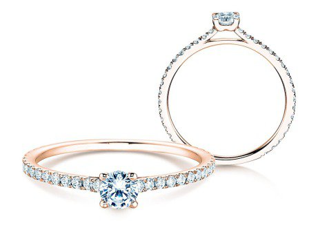 Diamantring Pure Diamond in 18k Rosegold mit Diamanten 0,49ct