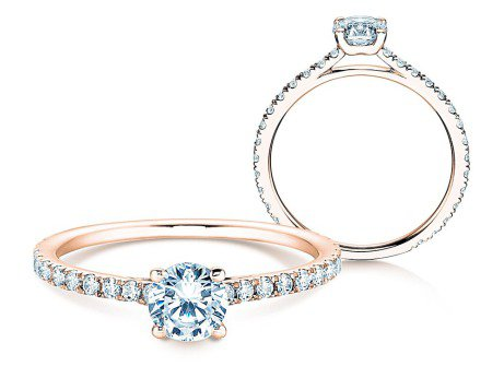 Diamantring Pure Diamond in 14k Rosegold mit Diamanten 0,82ct